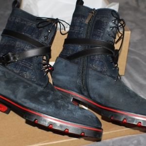 newest a4200 51dab Christian Louboutin Men Navy Blue/Black Flat Boots
